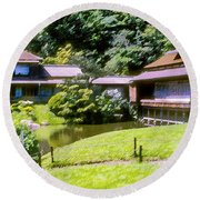 Garden Tea Houses Round Beach Towel