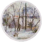 Garden Under Snow Round Beach Towel