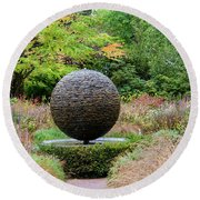 Garden Water Feature Round Beach Towel