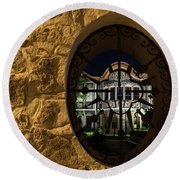 Illuminated Night View - Beautiful Revival House Through A Fence Window Round Beach Towel