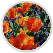 Garden With Blooming Yellow And Red Tulip Blossoms Round Beach Towel