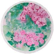 Garden With Pink Flowers Round Beach Towel