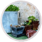 Gardening Pots And Small Shovel Against Stone Wall In Primosten, Croatia Round Beach Towel