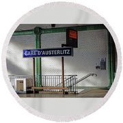 Gare D'austerlitz In Paris, France Round Beach Towel