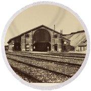 Gare De Longueau Round Beach Towel
