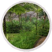 Garfield Park Conservatory Pond And Path Chicago Round Beach Towel