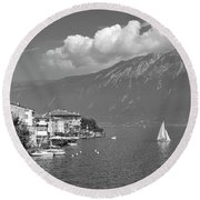 Gargnano On Lake Garda, Italy.    Black And White Round Beach Towel