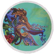 Gargoyle Lion Round Beach Towel by Genevieve Esson