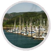 Garibaldi Oregon Marina Round Beach Towel