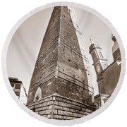 Garisenda Tower In Bologna Round Beach Towel