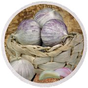 Garlic In The Basket Round Beach Towel