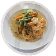 Garlic Prawns Round Beach Towel