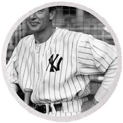 Gary Cooper As Lou Gehrig In Pride Of The Yankees 1942 Round Beach Towel