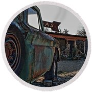Gas And Truck Round Beach Towel