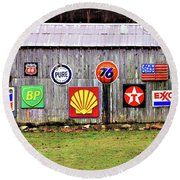 Gas From The Past Round Beach Towel