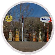 Gas Pumps And Gas Signs Panorama Round Beach Towel