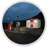 Gas Station In The Countryside, South Round Beach Towel