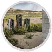 Gas Station Relics Round Beach Towel