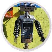 Gas Station Robot Round Beach Towel