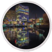Gas Street Basin At Night Round Beach Towel