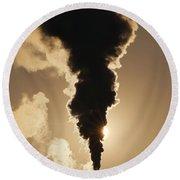 Gaseous Air Pollution Round Beach Towel