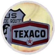 Gasoline Signs Round Beach Towel