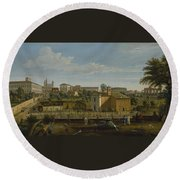 Gaspar Van Wittel  Called Vanvitelli Amersfoort 1652    1736   Rome  A View Of The Church Of Santi M Round Beach Towel