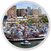 Gasparilla And Harbor Island Florida Round Beach Towel