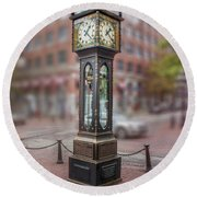 Gastown Steam Clock Round Beach Towel
