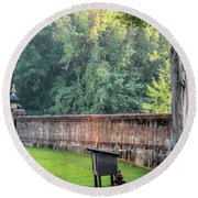Gate And Brick Wall At Shiloh Cemetery Round Beach Towel