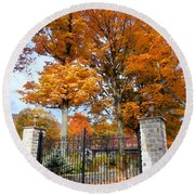 Gate And Driveway 3 Round Beach Towel
