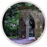 Gate At Cong Abbey Cong Ireland Round Beach Towel