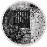 Gate At Dunguaire Castle Kinvara Ireland Round Beach Towel