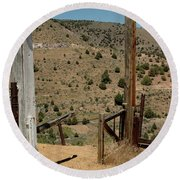 Gate Out Of Virginia City Nv Cemetery Round Beach Towel