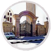 Gates Of Archangel Michael Cathedral Round Beach Towel