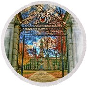 Gates To Knowledge Princeton University Round Beach Towel