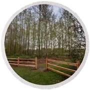Gates To The Birch Wood Round Beach Towel