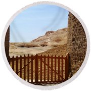 Gateway To Monthemhat Tomb Round Beach Towel