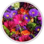 Gathered Garden Flowers Round Beach Towel