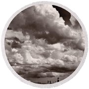 Gathering Clouds Over Lake Geneva Bw Round Beach Towel