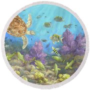 Gathering In The Reef Round Beach Towel