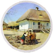 Gathering Near The Homestead Round Beach Towel