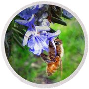Gathering Rosemary Pollen Round Beach Towel