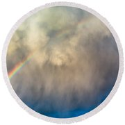 Gathering Storm And Rainbow Round Beach Towel