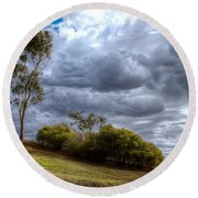 Gathering Storm Clouds Round Beach Towel