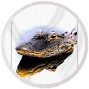 Gator Profile Reflection Round Beach Towel