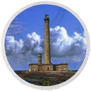 Gatteville Lighthouse Round Beach Towel