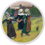 Gauguin, Breton Girls, 1888 Round Beach Towel