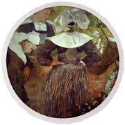 Gauguin: Breton Women Round Beach Towel