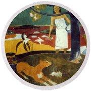 Gauguin: Pastoral, 19th C Round Beach Towel